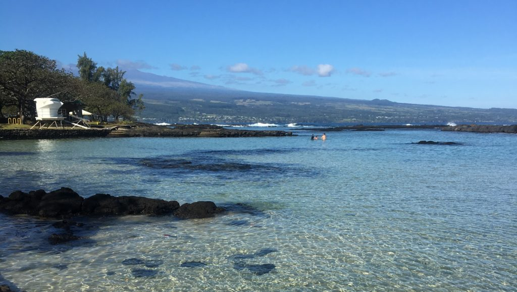Onekahakaha Beach in front of the Hilo Beach House Inn
